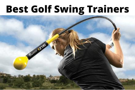 Women using a golf swing trainer