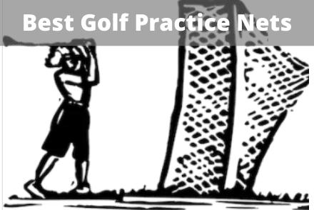 Golfer hitting into golf net