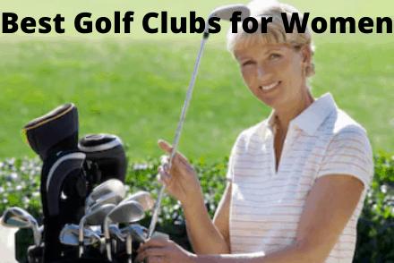 Women next to golf clubs