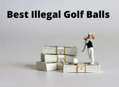 Golfer figurine on stack of cash hitting an illegal golf ball